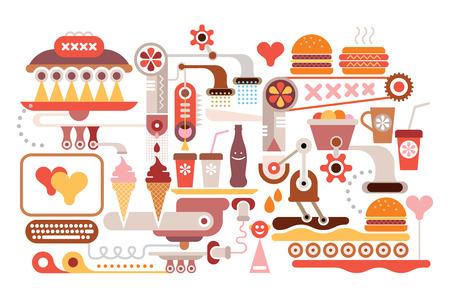 cold coffee: Fast Food Restaurant - illustration.