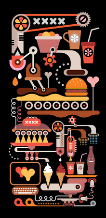 Restaurant Kitchen Equipment - vertical vector illustration on black background.