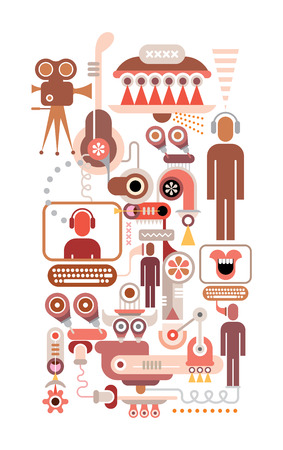 media center: Social Network isolated illustration on white background. Illustration