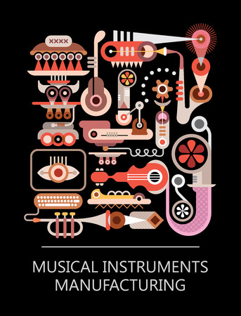 making music: Abstract vector illustration on black background. Graphic design with text Musical Instruments Manufacturing.