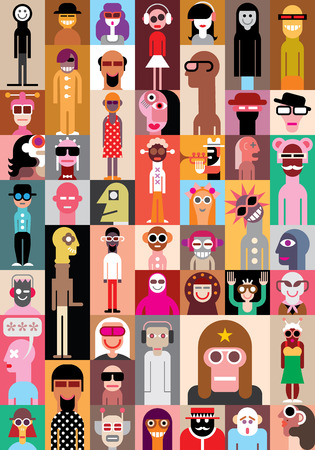 Large group of people. Art composition of abstract portraits Illustration