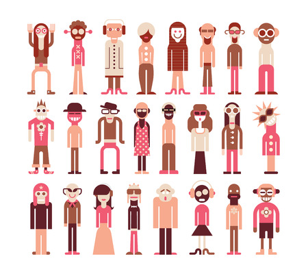People - isolated vector icons on white background.  Vector