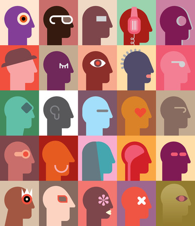 multitude: Peoples Heads illustration. Can be used as seamless wallpaper.