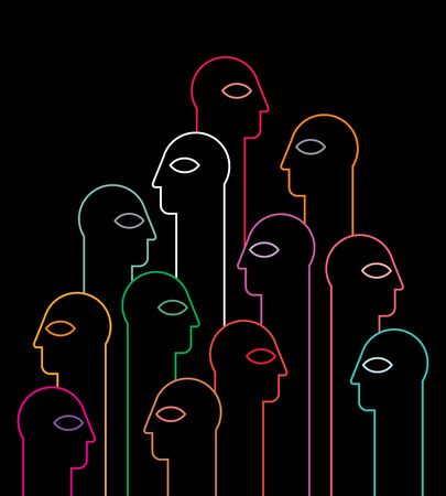 black people: People neon silhouettes on black background - vector illustration.