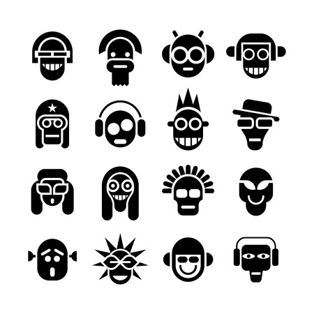 headphones icon: Avatar icon set. Black isolated image on white background.