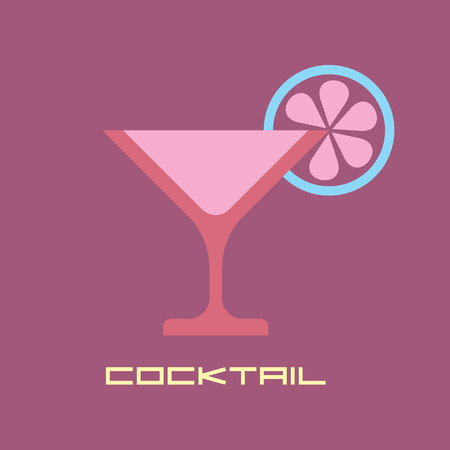 lobule: Citrus martini - vector icon with text Cocktail. Illustration