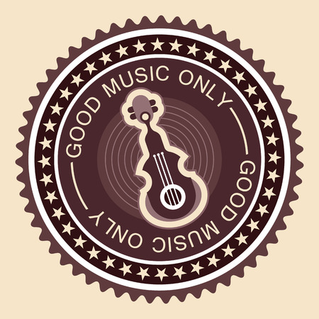 old fashioned: Old fashioned musical vector label with guitar and text Good Music Only.