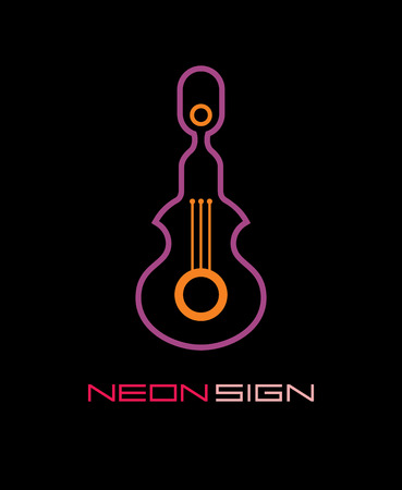 night club: icon with guitar silhouette and text Neon Sign.