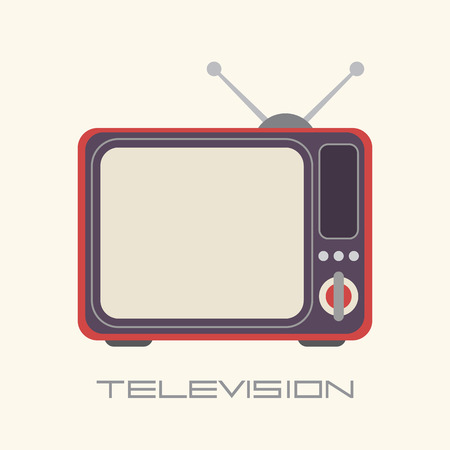 watching television: Retro TV isolated icon on light background with text Television
