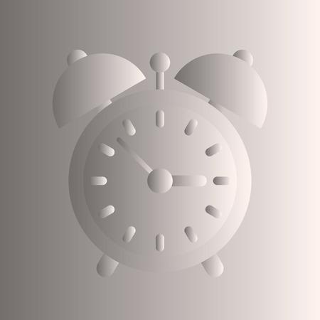 convex: Alarm cock convex image. Gray and white gradient.