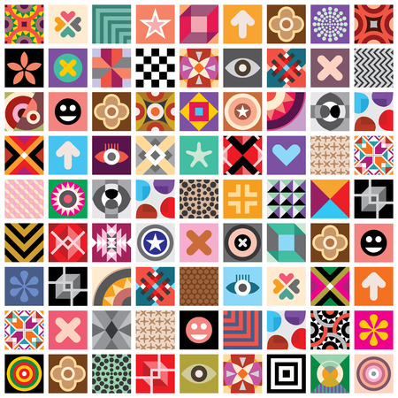 Large set of different abstract vector patterns and symbols. Seamless wallpaper. Vector