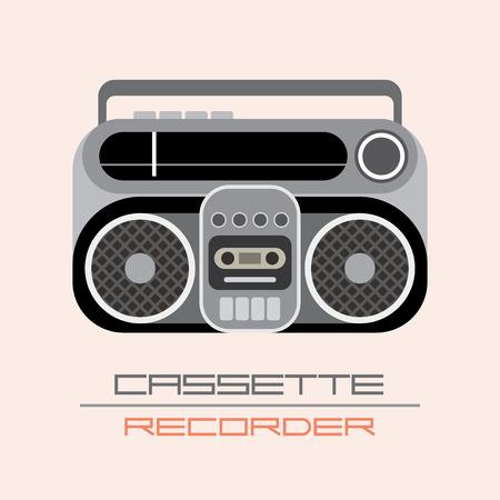 Retro Cassette Recorder aislado icono de vector.
