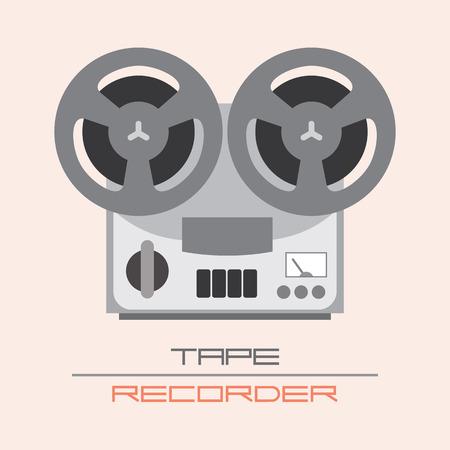 magnetofon: Old Fashioned Tape Recorder ilustracji wektorowych. Pojedyncze ikony.