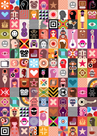 Art Collage of many different images. Vector illustration. Vector