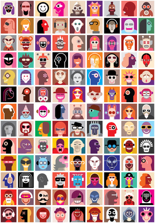 People faces vector set. Collage of closeup portraits. Çizim