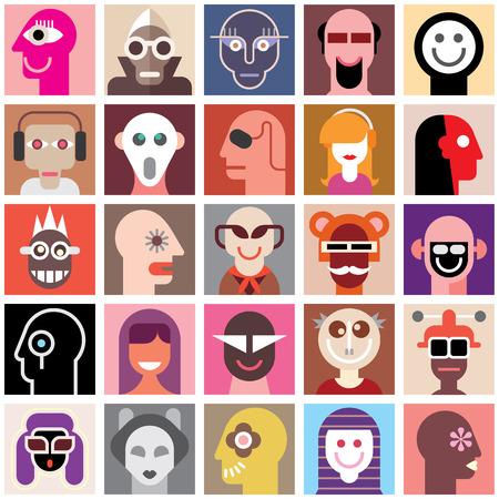 collage caras: La gente se enfrenta vector conjunto. Collage de retratos del primer. Papel pintado inconsútil.