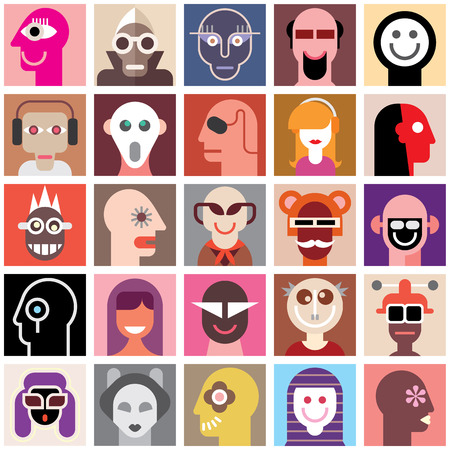 robot head: People faces vector set. Collage of closeup portraits. Seamless wallpaper.