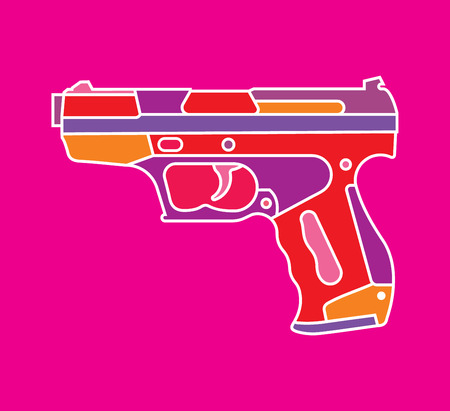 Pistol isolated on purple background Illustration