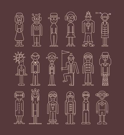 Gente - conjunto de iconos aislados contorno vectoriales. Fantasía colección de vestidos.