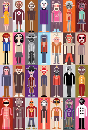 Group of people wearing fancy dresses. Set of portraits, vector illustration. Vector