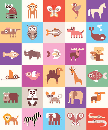 Animals, Fishes and Birds - vector illustration. Animal icon set. Seamless background. Vector