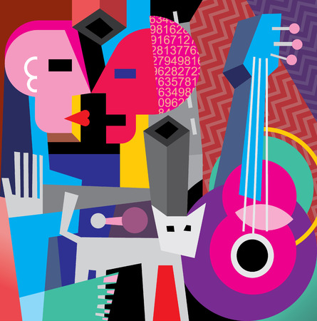 cubism: The Dance. Vector illustration with cat, old guitar and dancing couple.