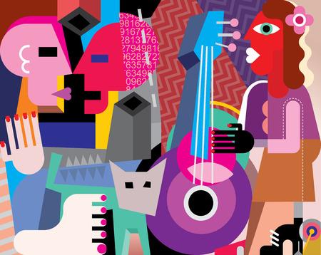 pareja bailando: El baile de los pares y de la mujer que toca la guitarra - ilustración vectorial. Foto de la obra. Vectores