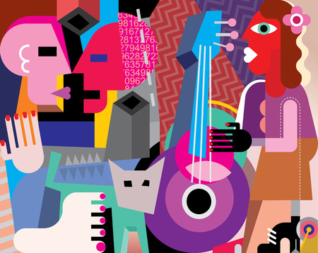 The dancing couple and woman playing guitar - vector illustration. Fine art picture.