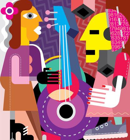 playing guitar: Musicians vector illustration. Woman playing guitar, man listening music.