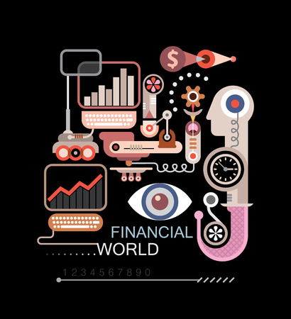 stock price quote: Abstract vector composition with text Financial World. Isolated on black background.