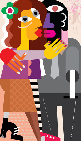 romantic couples: Beautiful young woman hugging and kissing a man. Modern fine art picture, vector illustration.