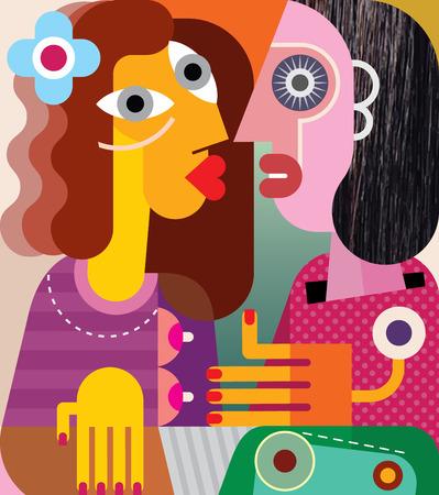 Art du portrait de deux femmes à la recherche les uns les autres. Vector illustration. Banque d'images - 34028748