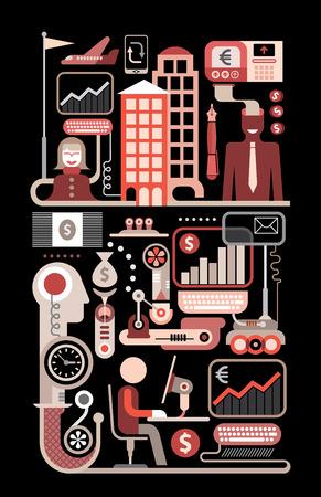 commerce electronique: Le commerce �lectronique, les paiements et le transfert d'argent. Isol� vecteur collage sur noir.