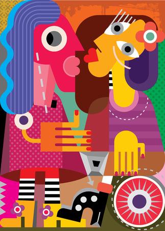 cubismo: Retrato de la bella arte de dos mujeres. Ilustraci�n del vector. Vectores