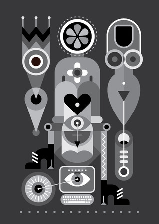 greyscale: Abstract art composition. Greyscale vector illustration. Illustration