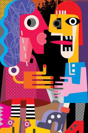 Een man en een vrouw vector illustratie. Moderne beeldende kunst portret. Stock Illustratie
