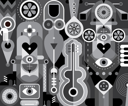 greyscale: Art abstract composition with different objects and figures. Greyscale vector illustration.