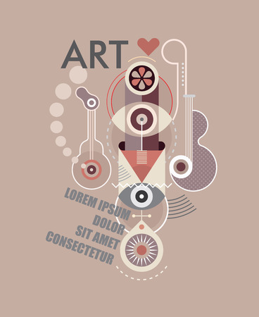 avantgarde: Composition of abstract shapes on light grey background. Vector illustration with text ART and place for some text. Avant-garde art style. Illustration