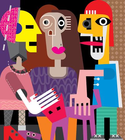 Twee vrouwen, een man en een kat. Vector illustratie.