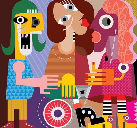 face off: Three women. Group of talking people. Vector illustration.