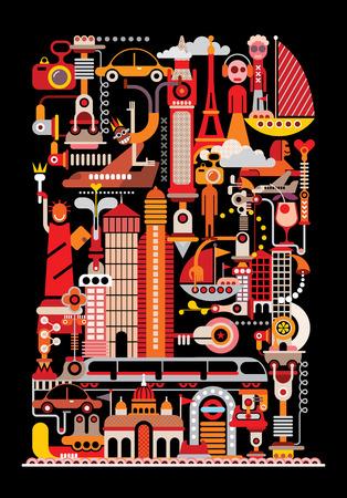 elizabeth tower: Travel poster. Isolated vector illustration on black background.