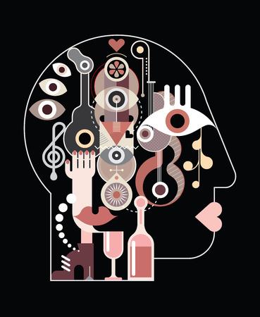 creator: Abstract art head - vector illustration on black background.  Illustration