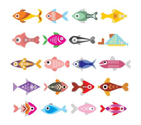 Aquarium Fishes - set of vector icons. Isolated on white background. Illustration