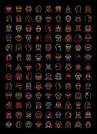 woman face close up: Set of neon avatars. More than 115 isolated vector icons on black background. Illustration