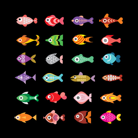 Exotic aquarium fishes - set of color vector icons. Isolated on black background. Vector