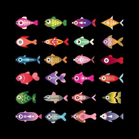 fishes: Exotic aquarium fishes - set of colorful vector icons. Isolated on black background.