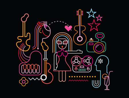Music party vector illustration. Neon light silhouettes on black background. Çizim