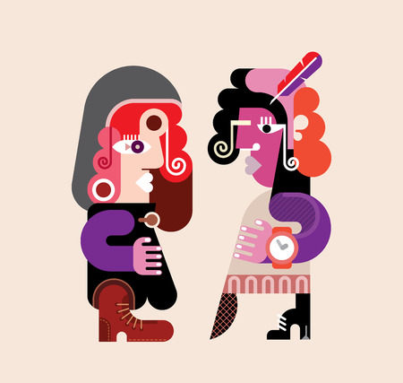 girlfriend: Two modern stylish women. Abstract art vector illustration. Young woman talking with her girlfriend. Illustration