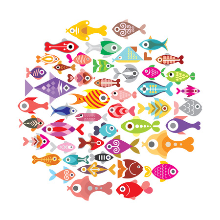 school of fish: Aquarium Fishes - vector icons round illustration. Isolated on white background.