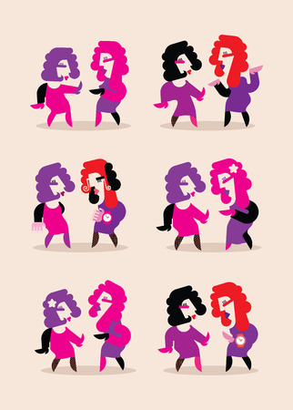 variants: Two dancing women vector illustration. Six variants of isolated images on light background. Illustration
